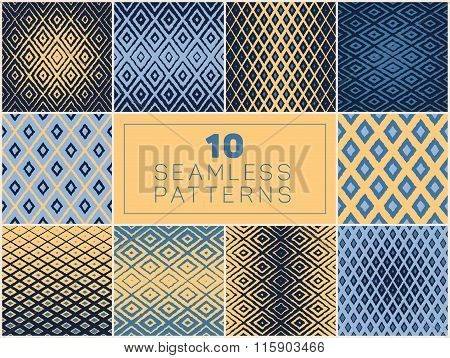 Set Of Ten Vector Seamless Hand Drawn Rough Line Geometric Rhombus Halftone Patterns