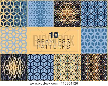 Set Of Ten Vector Seamless Hand Drawn Rough Line Geometric Grid Cube Shape Halftone Patterns