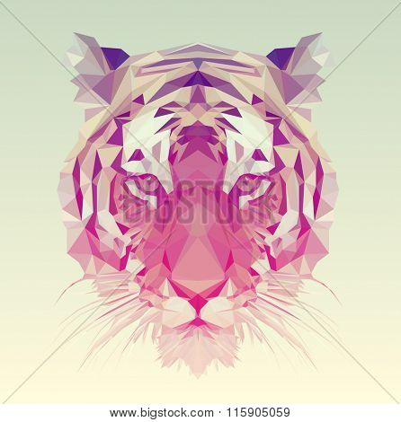 Low poly vector animal illustration. Polygonal tiger graphic design.