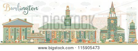 Abstract Burlington (Vermont) City Skyline with Color Buildings. Business and tourism concept with historic buildings. Image for presentation, banner, placard or web site