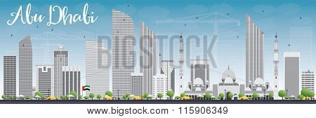Abu Dhabi City Skyline with Gray Buildings and Blue Sky. Business Travel and Tourism Concept with Modern Buildings. Image for Presentation, Banner, Placard and Web Site.