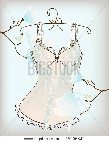 Vintage sexy guipure corset vector illustration