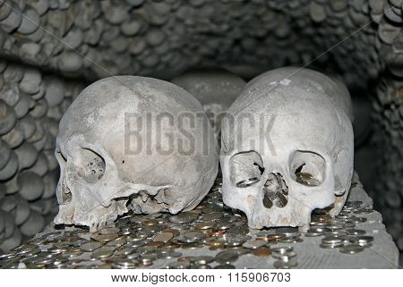Kutna Hora, Czech Republic - April 17, 2010: Human Bones In Sedlec Ossuary, Kostnice Cemetery Church
