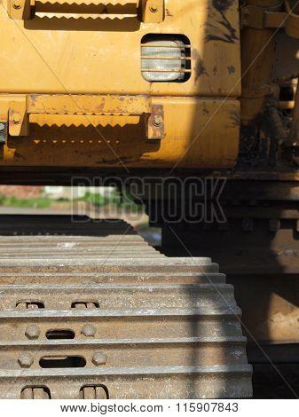 Closeup Details Of Heavy Duty Construction Equipment