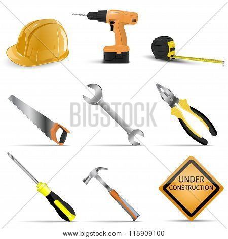 set tools on a white background