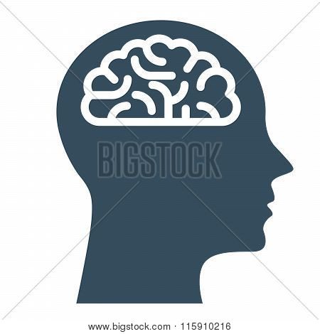 Peronal IQ - head with brain intelligence and knowledge symbol poster