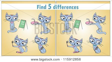 Four Cute Cats. Children Game Find 5 Differences