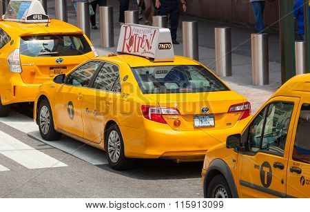 Classic Street View Of Yellow Cabs In New York City