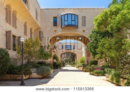 Modern residential complex in Mamilla Kfar David neighborhood in Jerusalem, Israel.
