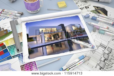 3D rendering of an architects desktop with the image of a luxurious villa with pool markers and  color swatches