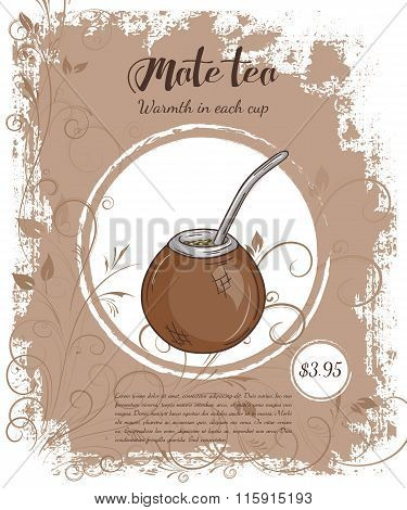 Vector Hand Drawn Illustration Of Drinks Menu Pages With Cup Of Mate