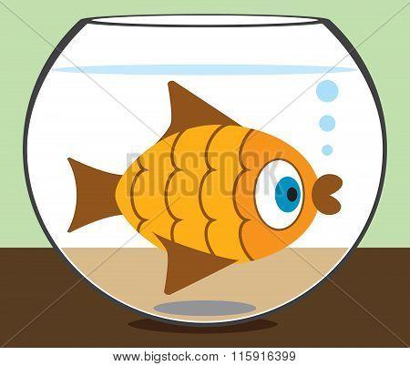 Cartoon Goldfish in Bowl