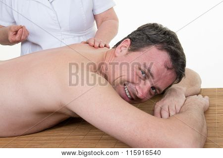 Happy And Smiling Man On Acupuncture Treatment , Horizontal  Portrait