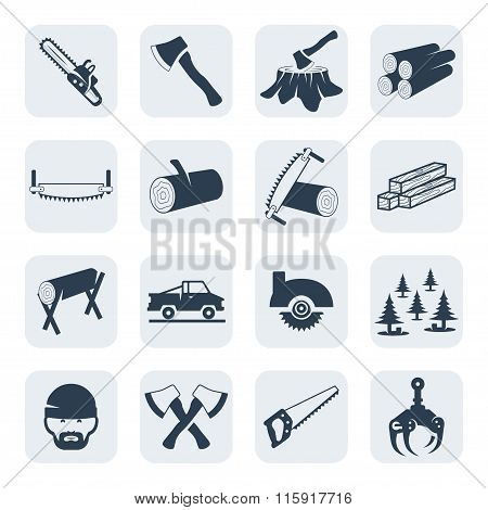 Vector Lumberjack And Sawmill Icons Set.vector Symbols. Vector Illustration