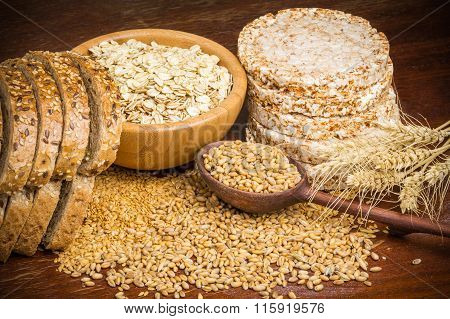 Grains, seeds, buckwheat cakes and whole wheat bread