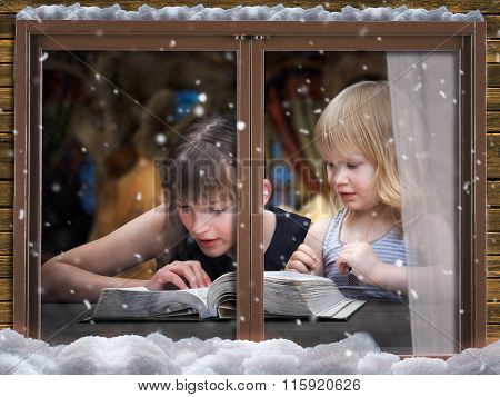 Outside the window, in the apartment of two women read more books
