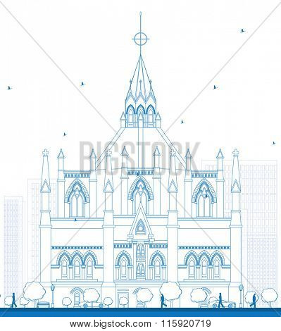 Outline Library of Parliament, Ottawa, Ontario, Canada. Vector illustration. Business Travel and Tourism Concept with Historic Building. Image for Presentation Banner Placard and Web.