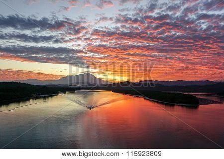 Beautiful sunrise with the view of Mount Kinabalu, at Mengkabong Bridge, Tuaran.