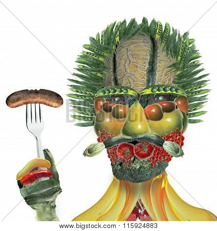 Vegetable Man With Fork And Sausage