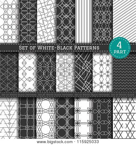 Set of white and black patterns