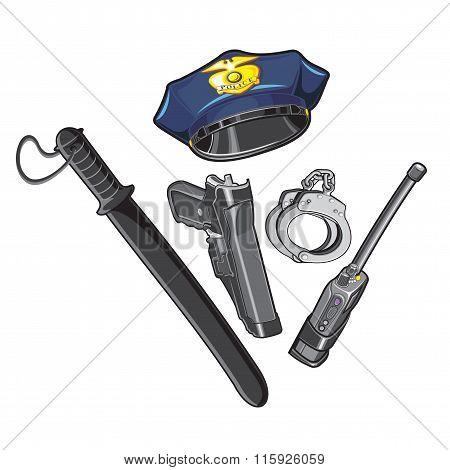 Police cap, baton, handcuffs, walkie-talkie