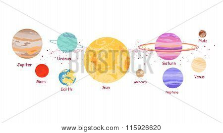 Solar System Icon Flat Design Style