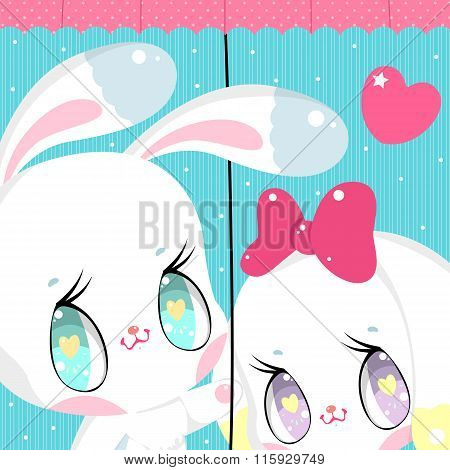 Two cute bunny under the umbrella