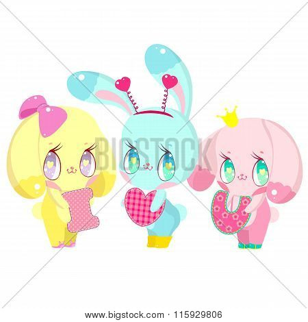 Three cute little bunnies are holding the letter I, U and heart. Postcard I love you.