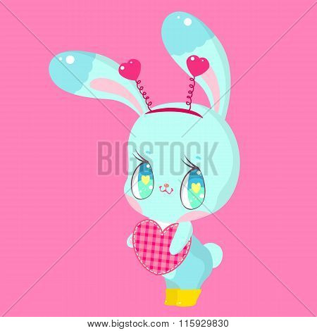 Little bunny holding a heart on a pink background