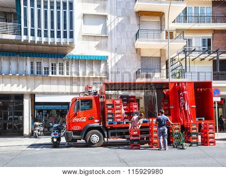 Lorry with boxes of Coca-cola on Sevilla street