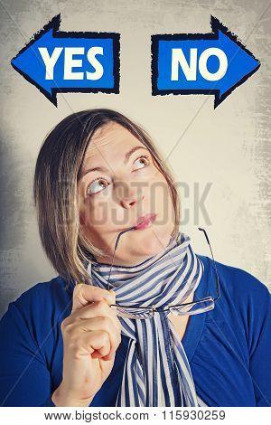 Portrait Of Woman Thinking