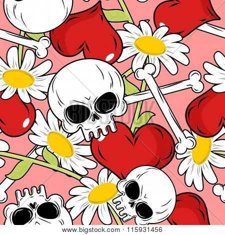 Love And Death Seamless Pattern. Red Heart And Skull. Background For Valentines Day.