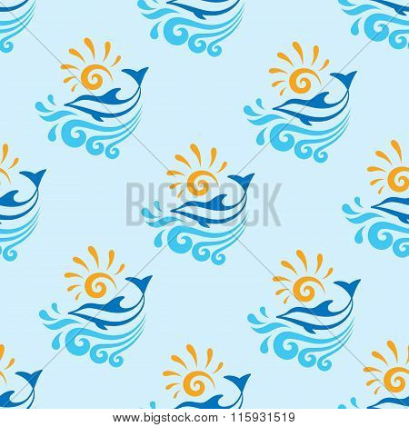 Dolphin with sea, waves & sun - vector background - seamless pattern. Dolphin seamless background.