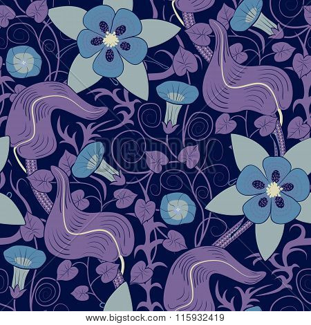 Vector seamless vintage floral pattern. Flowers on a blue background
