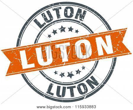 Luton orange round grunge vintage ribbon stamp