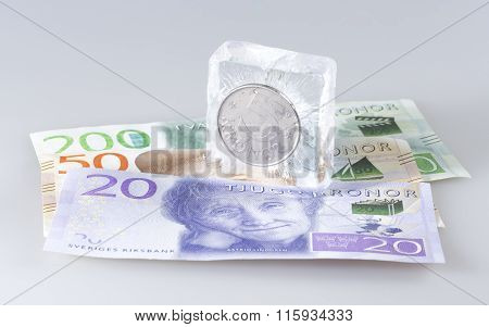 Swedish Five Krona Coin In Ice
