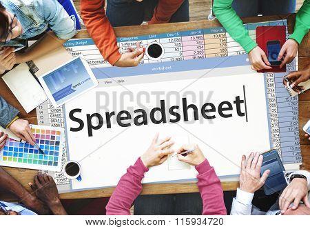 Spreadsheet Documents Data Analysis Worksheet Concept