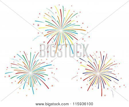 The vector illustration of colorful fireworks on white background