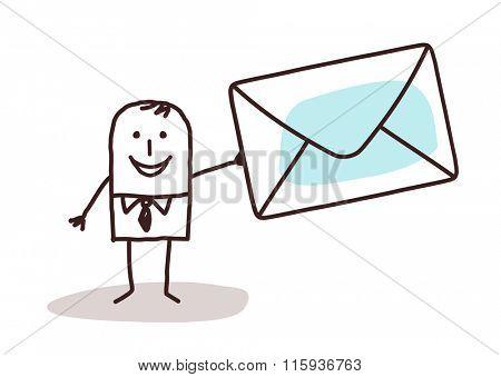 cartoon businessman holding a mail envelope