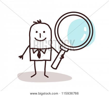 cartoon man carrying a large magnifying glass