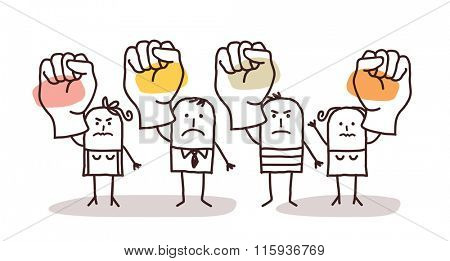 cartoon group of people saying NO with raised fists