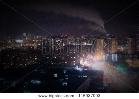 Oil Style City At Night Image