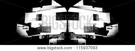 Monochrome Building Symmetry Abstract
