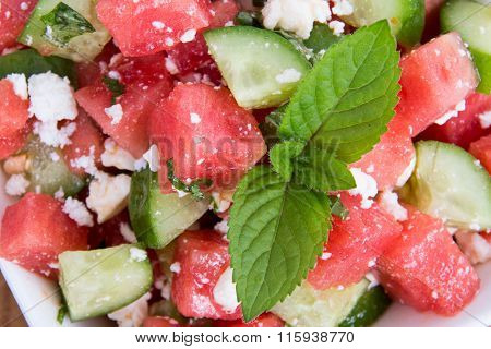 Watermelon Salad With Mint And Cucumber