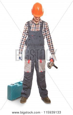 Construction Worker With A Tool In The Hands