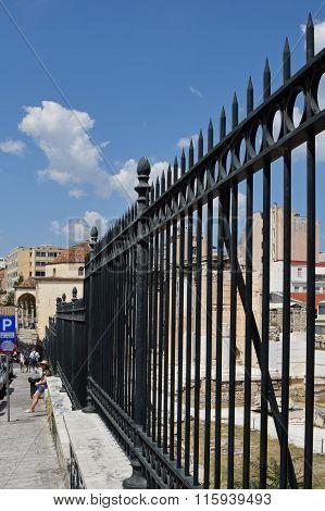 People Metal Fence Athens