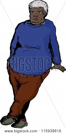 Man In Blue Leaning On Blank Area