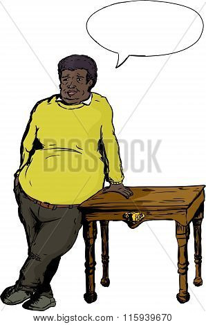Happy Heavyset Man Leaning On Table