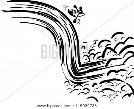 Rowboat Falling Down Waterfall