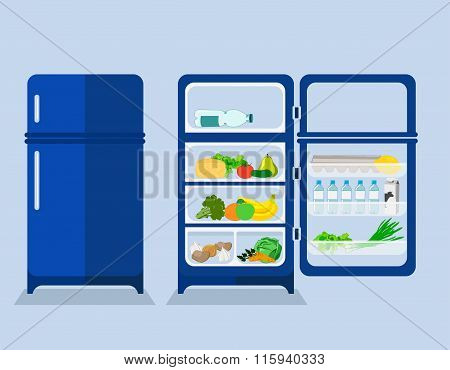 Refrigerator With The Door Closed And Open